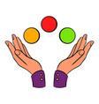 hands juggling balls icon cartoon vector image vector image