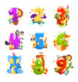 happy birthday anniversary numbers with cute vector image vector image