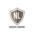 initial letter nl shield design loco concept vector image vector image