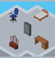 isometric design set of sideboard table office vector image vector image