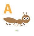 Letter A Ant Insect Zoo alphabet English abc with vector image vector image