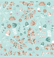 light cozy summer seamless pattern leaves birds vector image