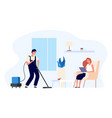 man vacuums cleans house happy vector image vector image