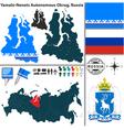 Map of Autonomous Okrug Yamalo Nenets vector image vector image