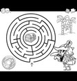 maze with pirate coloring page vector image vector image