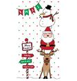 santa reindeer snowman card vertical vector image vector image