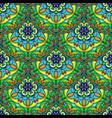 seamless blue green floral mandala pattern vector image vector image