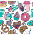 seamless pattern with candy donuts sweet icecream vector image vector image
