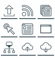set of 9 internet icons includes save data wifi vector image vector image