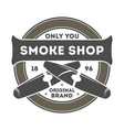smoke shop vintage label with cigar vector image vector image