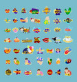 stickers set social media network message badges vector image