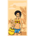 Summer and beautiful girl in jeans and swimsuit vector image