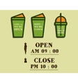 Summer fresh smoothie cafe signs concept Open and vector image