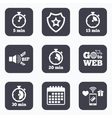 Timer icons Five minutes stopwatch symbol vector image vector image