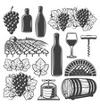 vintage wine elements set vector image vector image