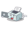 with laptop printer character cartoon style vector image