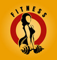 woman with barbell fitness emblem vector image vector image