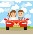 Just married in red car vector image