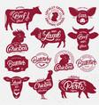 13 butchery logo label emblem poster vector image vector image
