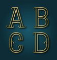 a b c d shiny golden letters with shadow vector image vector image