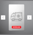 ambulance truck medical help van line icon in vector image