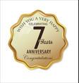 anniversary retro label 7 years vector image vector image