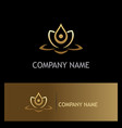 beauty gold lotus flower spa logo vector image vector image