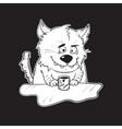 black and white hand drawn cartoon cat vector image