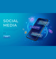 chatting and communication concept 3d phone with vector image vector image