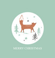 christmas card with winter forest background cute vector image vector image