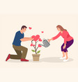couple watering love plant vector image vector image