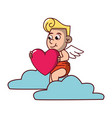 cupid on cloud with heart vector image vector image