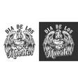 dia de los muertos monochrome label vector image vector image
