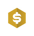 dollar money symbol combined with gold hexagon vector image