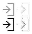 entry input enter door icon set grey black color vector image vector image