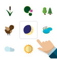 flat icon natural set of half moon pond bird and vector image vector image