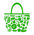 green bag with fruits and vegetables vector image vector image