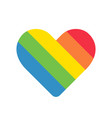 heart icon with colorful rainbow stripes on white vector image