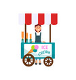 ice cream cart and young girl street seller vector image