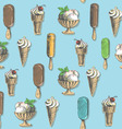 Ice cream types seamless vector image