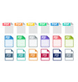 icon collection of pdf document file set vector image