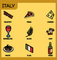 italy color outline isometric icons vector image vector image