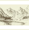 mountain landscape sketch small alpine resort vector image vector image