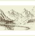 mountain landscape sketch small alpine resort vector image vector image