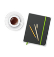 Notebook with pen and cup of coffee vector image