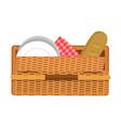 picnic basket pattern color vector image vector image