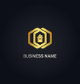 polygon home realty company gold logo vector image vector image