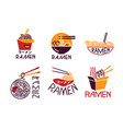ramen meal cooking lettering icons set asian vector image