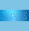 realistic water drops on blue background three vector image vector image