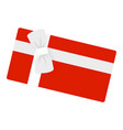 red gift box white ribbon icon flat style vector image